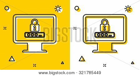 Black Monitor with password notification and lock icon isolated on yellow and white background. Security, personal access, user authorization, login form. Random dynamic shapes. Vector Illustration stock photo