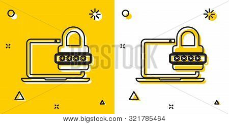 Black Laptop with password notification and lock icon isolated on yellow and white background. Security, personal access, user authorization, login form. Random dynamic shapes. Vector Illustration stock photo