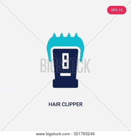 two colored hair clipper vector icon from beauty. 2 color hair clipper concept. blue hair clipper sign. hair clipper icon can be use for web, app, UI. hair clipper icon vector illustration. Bicolor hair clipper vector icon EPS stock photo