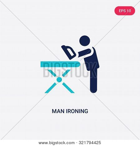 two colored man ironing vector icon from behavior. 2 color man ironing concept. blue man ironing sign. man ironing icon can be use for web, app, UI. man ironing icon vector illustration. Bicolor man ironing vector icon EPS stock photo