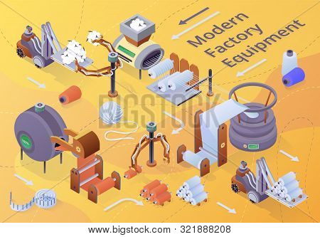 Modern Textile Factory Equipment Banner. Row of Automated Machines for Yarn Manufacturing. Plant Machinery and Equipment. Fibers Wrapping Machine. Atelie Craft Business, 3d Vector Illustration, Banner stock photo