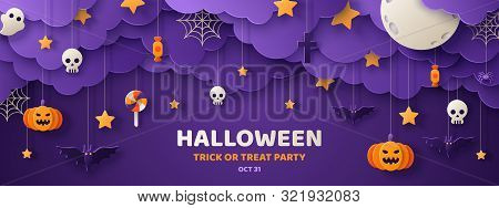 Happy Halloween card or banner with typography design on violet background. Vector illustration with retro light bulbs font, streamers, confetti and hanging flag garlands. stock photo
