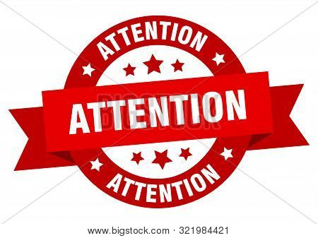 attention ribbon. attention round red sign. attention stock photo