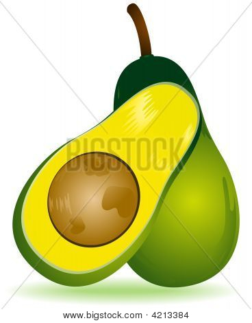An Illustration of Avocado with Clipping Path stock photo