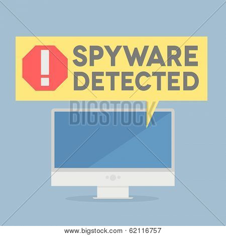 minimalistic illustration of a monitor with a spyware alert speech bubble, eps10 vector stock photo