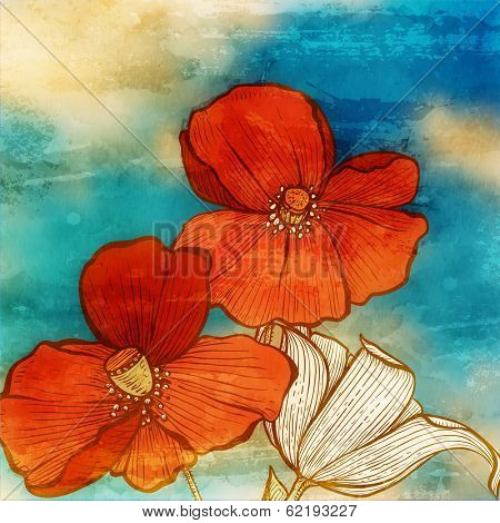 Vintage engraving style poppy flowers, sky and clouds. retro paper texture background. watercolor de