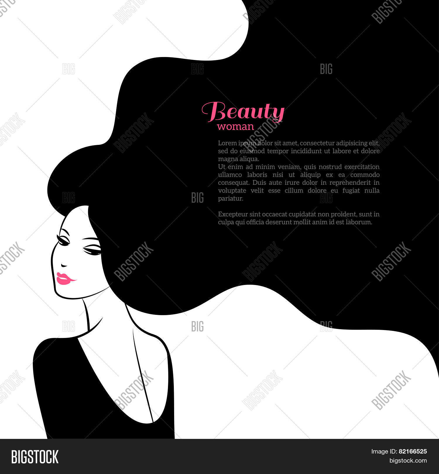 Abstract Fashion Woman With Long Hair Vector Illustration 82166525 Image Stock Photo