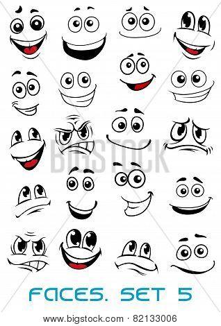 Cartoon faces with distinctive looks