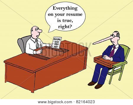 Cartoon of interviewer asking man, Everything on your resume is true right?, apparently not since his nose has grown long. stock photo