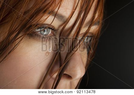 beauty girl cry on black background stock photo
