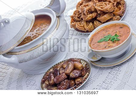 Moroccan food,ramadan kareem, soup, orient food, hospitality stock photo