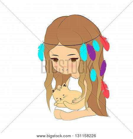 Vector illustration cute girl and kitten cartoon hand drawn style. Young girl with feather headdress with little cat sleeping on her knees. stock photo