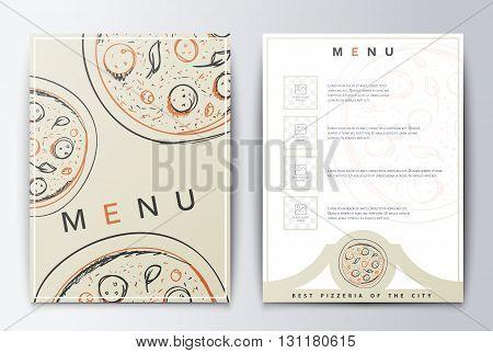 Design menu. Menu food. Brochure culinary menu. Menu background for restaurant or coffee. Menu for the restaurant. Menu with pizza emblema. Menu background. Restaurant menu