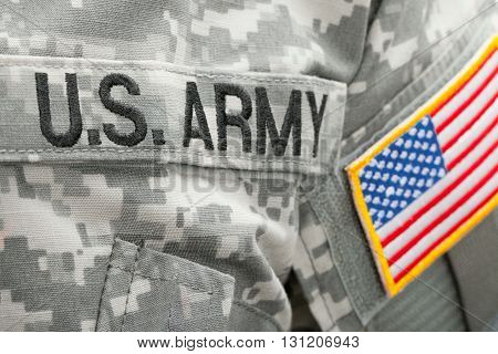 Us Flag And U.s. Army Patch On Military Uniform - Close Up Shot