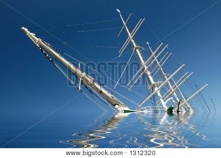 sinking sailing ship in front of blue sky. stock photo