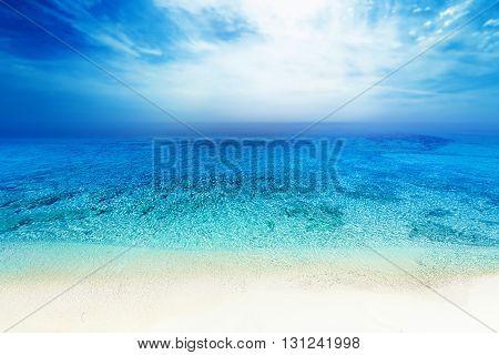 Tropical paradise beach / Sea beach blue sky sand sun daylight relaxation landscape for design postcard or calendar