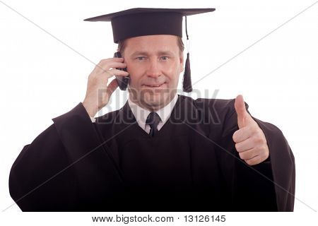 Education background: serious man in a academic gown. stock photo