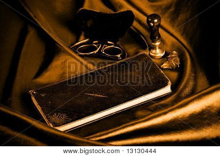 Style art background. Vintage things: books, candles and other. stock photo