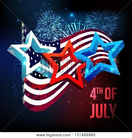 Glossy 3D Stars on waving American Flag, fireworks decorated background for 4th of July, Independence Day celebration. stock photo