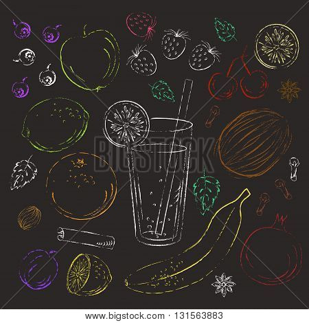 Set of colored chalk fruit berries and spice drawings with smoothie glass.