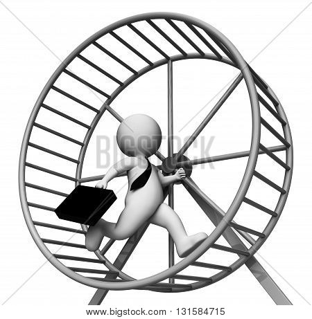 Hamster Wheel Meaning Business Person And Burdensome 3d Rendering stock photo