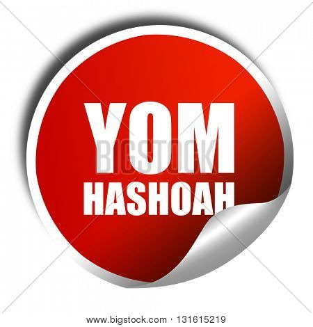 yom hashoah, 3D rendering, a red shiny sticker stock photo