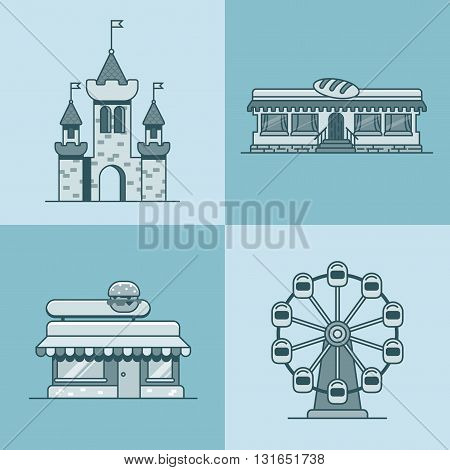 City town architecture castle ferris wheel bakery fast food restaurant cafe building set. Linear stroke outline flat style vector icons. Monochrome icon collection.
