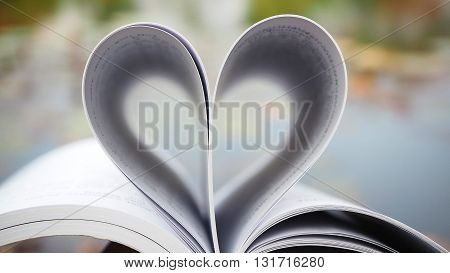 Book of love. Love books Love reading Love Story Heart shape from pages of book for love concept.