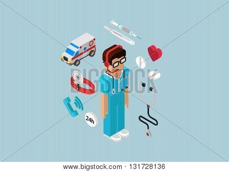 Medical emergency ambulance car all-day first aid service professional doctor nurse. Flat 3d isometric pixel art modern concept vector web illustration materials website infographics pixelart pills. stock photo