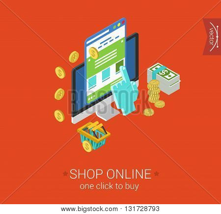 Online shopping process website item buy click pay flat 3d isometric pixel art modern design concept vector icon. Web banner illustration website click infographic e-commerce business store interface. stock photo