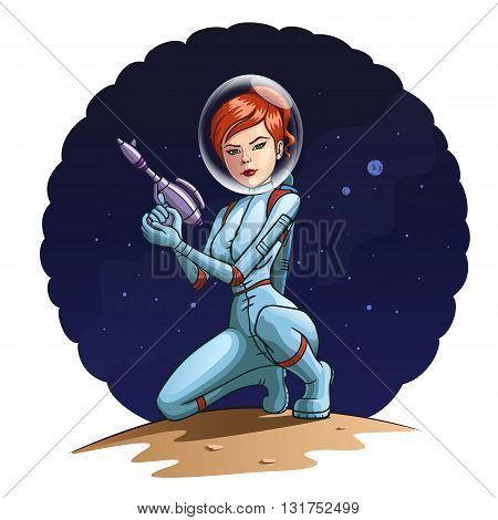 Illustration of a girl in a spacesuit with a blaster. stock photo
