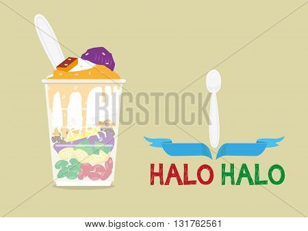 Halo-Halo loosely means Mixture is a popular icy dessert in the Philippines with a lot of ingredients mixed for a delicious sweet fare. Editable Clip Art. stock photo
