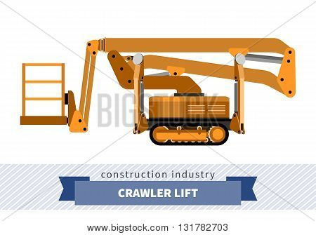 Aerial man crawler lift crane. Side view mobile crane isolated vector illustration stock photo
