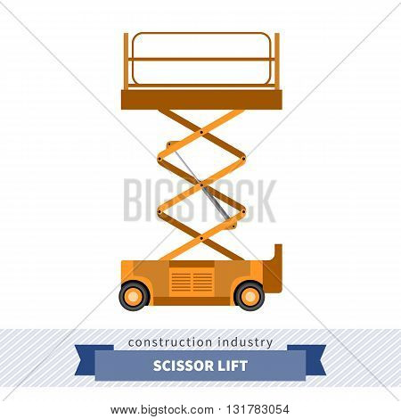Aerial man scissor lift crane. Side view mobile crane isolated vector illustration stock photo