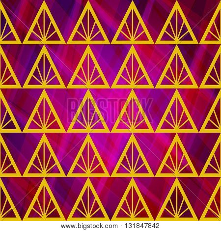 Seamless Abstract Vector Background with Yellow Triangles. Bright Geometric Backdrop. Pink Color Illustration. Can Used for Wrapping, Tamplates, Web, Ivitation, Textile, ets stock photo