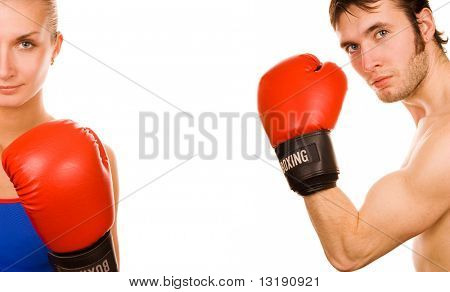 Boxer couple stock photo