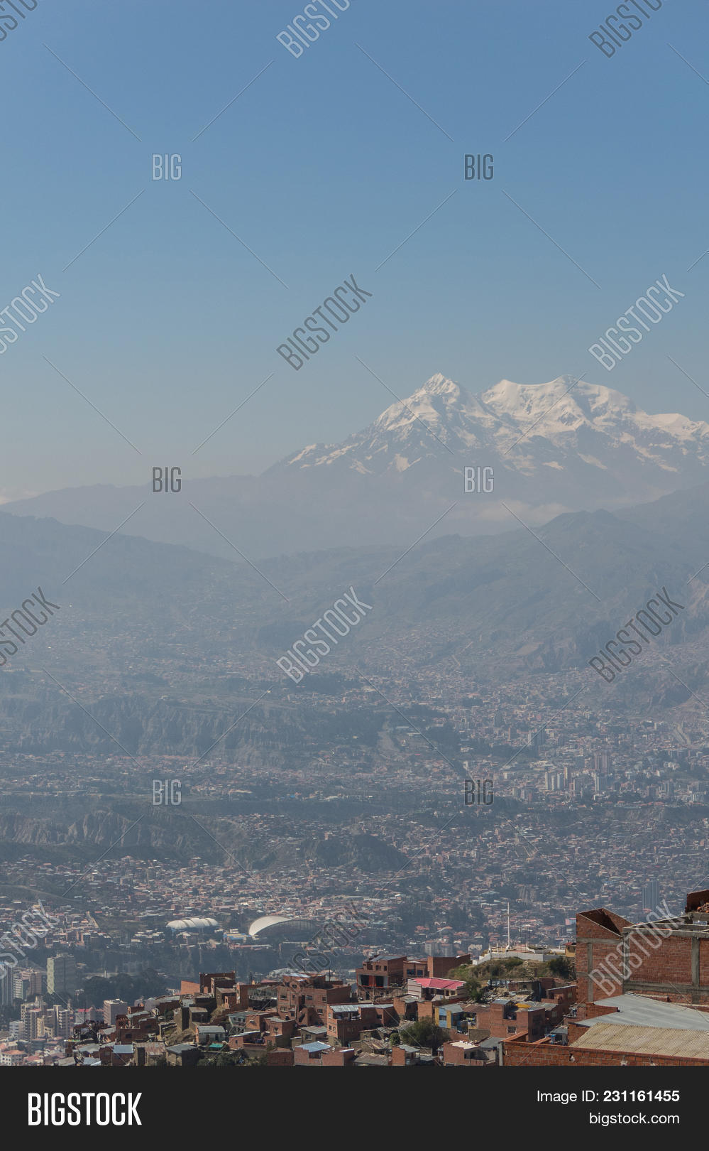 The city of La Paz high in the Andes Mountains in Bolivia - viewed from Mirador Kilikili. La Paz, Bolivia.