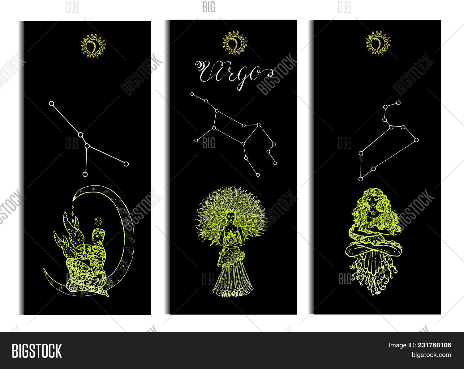 Set With Cancer Leo And Virgo Zodiac Symbols Banners On Black Hand Drawn Vector Illustration Temp 231768106 Image Stock Photo