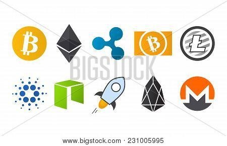 Cryptocurrency logo icon set bitcoin, bitcoin cash, litecoin, ethereum, ethereum classic, monero, ripple, cardano, neo, stellar.Virtual money icon.Cryptocurrency in flat style.Symbol of smart technologies. stock photo