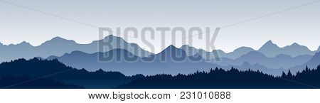 Vector Illustration Of Beautiful Panoramic View. Mountains In Fog With Forest, Morning Mountain Back
