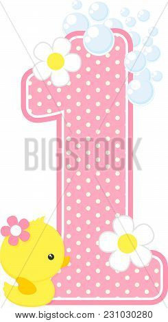 number 1 with bubbles and cute rubber duck isolated on white. can be used for baby girl birth announcements, nursery decoration, party theme or birthday invitation. Design for baby girl stock photo