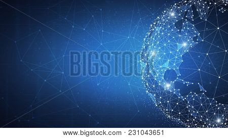Blockchain technology futuristic hud background with world globe and blockchain polygon peer to peer