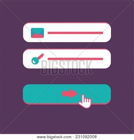 Web Template and Elements for site form of email subscribe, newsletter or login to account, submit. Vector stock photo