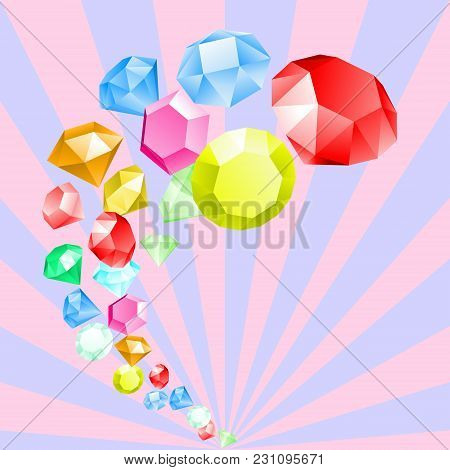 Diamonds. Rainbow of Gemstones. Fashion jewelry. Abstract multicolor background in pastel colors with rays. Vector illustration of geometric colorful shapes, multifaceted objects in candy colors. stock photo