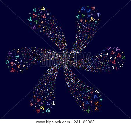 Psychedelic Wi-Fi curl flower shape on a dark background. Vector abstraction. Hypnotic cycle created from scatter wi-fi symbols. stock photo