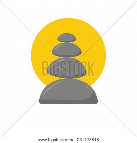 Vector illustration with cartoon isolated relax stones icon on white background. Ayurveda zen relaxation medicine. Symbol of tranquility balance and harmony. Vector cartoon black massage stones stock photo
