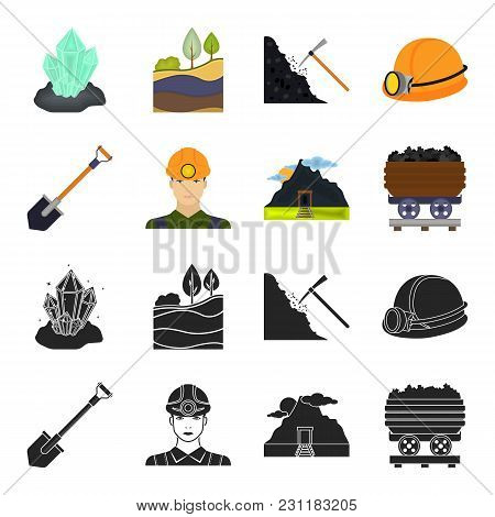 A shovel, a miner, an entrance to a mine, a trolley with coal.Mine set collection icons in black, cartoon style vector symbol stock illustration . stock photo