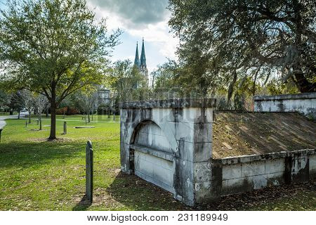 SAVANNAH, GEORGIA - MARCH 1, 2018: Established around 1750, Colonial Park is the final resting place for many of Savannah's notable citizens, including a signer of the Declaration of Independence, Button Gwinnett, over 700 victims of the 1820 Yellow Fever stock photo
