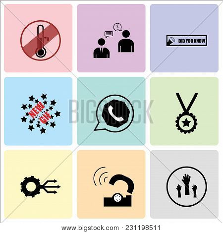 Set Of 9 simple editable icons such as get involved, telco, multi channel, perks, whatsapp, new gif, did you know, consulting, antifreeze, can be used for mobile, web UI stock photo