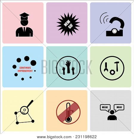 Set Of 9 simple editable icons such as bilingual, antifreeze, gap analysis, after sales support, get involved, continuous improvement, telco, new gif, alumni, can be used for mobile, web UI stock photo